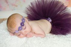 Baby's First Tutu Plum Set...Photo Prop, Easter, Birthday, Wedding, Tutu Skirt, Headband Tutu Set, Baby Tutu, Plum tulle, Baby Headband