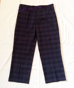 Nike Golf Mens Dress Pants Flat Front Black Plaid Size 34x34 Mint Retail $75 #NikeGolf #DressFlatFront