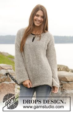 This jumper is comfy and cosy - and modern! Free #knitting pattern available online by #DROPSDesign