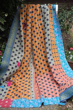 Polka dot KanthaSari ThrowSari BlanketSari QuiltVintage by fatlama
