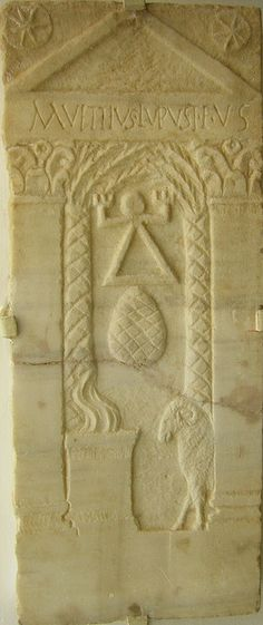 Note the baetylus, square incense altar and a ram. Inscription in Latin alphabet. Also absence of a caduceus but presence of two palm trees/pillars. Stele of Tanit .:. Museum of Nabeul