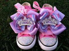 Princess Shoes: just glue on rhinestones, add tri color ribbions & finish with a pendant (or pins)   G;)