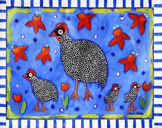 """""""Guinea Hens and Red Flowers"""" Floorcloth"""