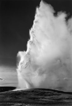 "Ansel Adams - ""Old Faithful Geyser"". Yellowstone National Park, Wyoming, ca. 1940. ☀"