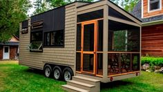 """Orono"" Debut Tiny House on Wheels by Evergreen Tiny Homes Tiny House Movement // Tiny Living // Tiny House on Wheels // Tiny House Exterior // Tiny Home Porch // Tiny Home // Architecture // Home Decor"