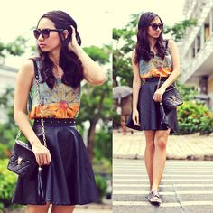 Flower and leather (by Chi Doan) http://lookbook.nu/look/4352599-Flower-and-leather