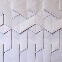 Tracey Tubb Glacier | Hand Folded Origami Wallpaper Hanging Wall Finishes, Bathroom Wallpaper, Interior Design Inspiration, Line Drawing, Tile Floor, Origami, 2d, Fabric, Projects
