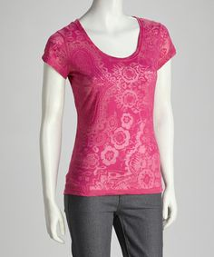 Take a look at this Pink Sheer Floral Tee by Coline USA on #zulily today!