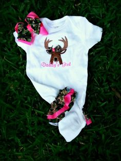 Daddy's girl Hunting Camo Ruffle onsie by charminglanedesigns, $30.00..yes i want!!!