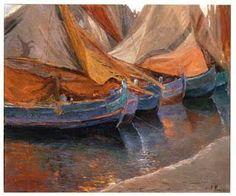 """Francesco Fanelli (Livorno 1869-Firenze 1924) , """"Barche di pescatori a Viareggio"""", olio su tela, cm. 50 x 60."""