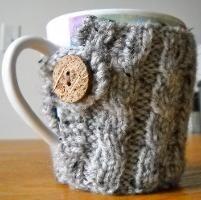 Cable Knit Coffee Mug Cozy II - via @Craftsy