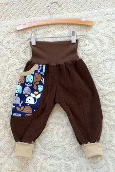 Handmade fun brown corduroy pants comfy whales by NoNiMadewithlove