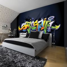 Heimwerker Wandtattoo Jugendzimmer Graffiti Ideen Boys At - Graffiti and air brush - Kinderzimmer Room Ideas Bedroom, Bedroom Murals, Bedroom Wall, Wall Murals, Bedroom Furniture, Bedroom Decor, Wall Decal, Graffiti Room, Graffiti Wallpaper