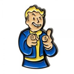 Fallout 4 Video Game Collectible Metal Pin VAULT BOY Thumbs Up Pointing 2016 NEW #Bioworld