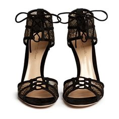 Gianvito Rossi Suede trim floral lace sandals (17168730 BYR) ❤ liked on Polyvore featuring shoes, sandals, heels, lace sandals, floral print sandals, gianvito rossi shoes, open toe heel sandals and laced shoes