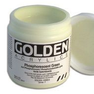 GOLDEN Phosphorescent Medium is a water-based acrylic medium that can be applied to various surfaces. The unique pigment used in its formulation is characterized by its ability to absorb and store natural and artificial light. When the light source is removed (i.e: when the lights are turned off or the painted object is taken into a dark area), a bright, greenish glow is emitted for up to 15 minutes. The glow steadily diminishes as the stored light energy is released.