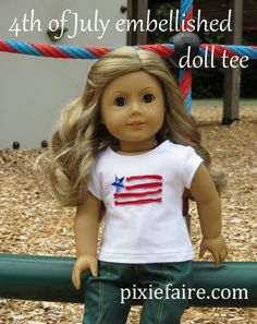 How To Make a 4th of July Tee for 18 inch Dolls - FREE Tutorial - Pixie Faire
