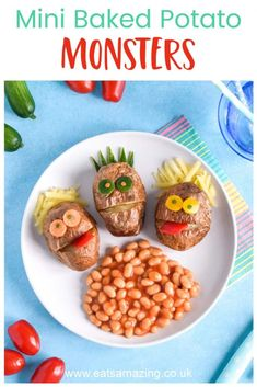 How to make fun and easy baked potato monsters - fun recipe for kids with Heinz Beanz No Added Sugar #EatsAmazing #Funfood #KidsFood #FoodArt #CuteFood #Monsters #BakedPotato #Potatoes #Heinz #HeinzBeanz #HealthyKids