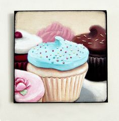 Everyday is a Holiday — Instagram inspired wood mounted print Cupcakes #1