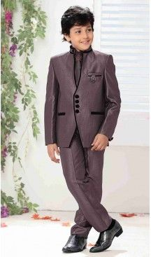 Deep Purple Color Heavy Tr Fabric Boy's Blazer & Suits