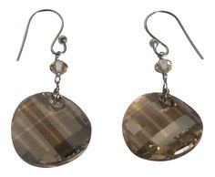 Sterling Silver Dyed Gold Freshwater Cultured Pearl and Swarovski Crystal Elements Earrings