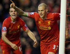 Martin Skrtel and Jordan Henderson celebrate the second goal