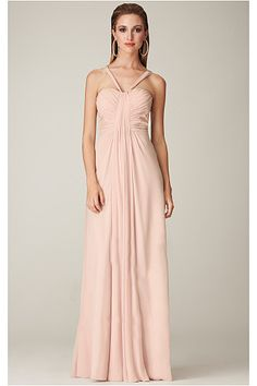 Pink Empire Halter Floor-length Chiffon Evening Dresses