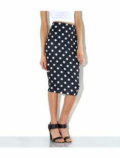 Black Pattern (Black) Black Spot Print Pencil Skirt | 308274809 | New Look