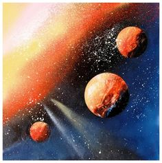 Learn the secrets of spray paint art and paint a space scene in 5 minutes! Step by step tutorial with lots of photos! Spray Paint Artwork, Diy Spray Paint, Spray Painting, Painting Art, Paintings, Airbrush, Acrylic Painting Lessons, Painting Tricks, Affinity Photo