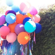 bunch of big round balloons