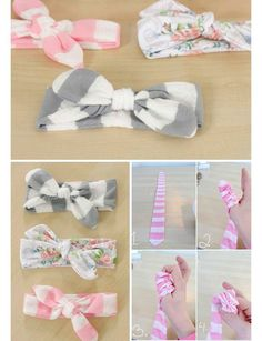 15 DIY Headband Ideas Great ideas to create your own cute headbands!}, http_status: DIY Headband Ideas - dress up a messy up-do by accessorizing with a cute DIY Headband Ideas - from a simple knotted strip of fabric, to a crochete Diy Baby Headbands, Baby Bows, Baby Headband Tutorial, Headband Baby, Turban Headbands, Headband Pattern, Baby Girl Shower Themes, Baby Shower Gifts, Shower Baby