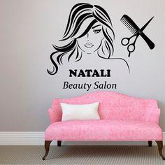 Nombre personalizado pared calcomanías belleza cabello salón