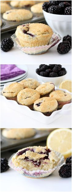 Lemon Ricotta Blackberry Muffin #recipe #muffins #blackberry