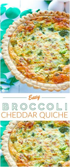 This easy vegetarian broccoli quiche recipe has a creamy smooth custard interior, and it's filled with broccoli and sharp white cheddar cheese. | Vegetarian Quiche | Broccoli Cheddar Quiche | Brunch Recipe  | Breakfast Recipe #Quiche #BrunchRecipe #BreakfastRecipe