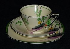 A wonderful Burleigh trio in excellent condition and decoration is as bright as the day it was made, crazing to the plate and minimal amount of crazing to saucer. Burleigh makers mark to all 3 pieces. Imperial Design, Snacks Dishes, Toast Rack, Art Deco Period, Egg Cups, Ceramic Design, Cake Plates, Tea Cup Saucer, Makers Mark