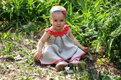 Linen organic coral flower dress / tunic crochet  by TheBabemuse, $45.00