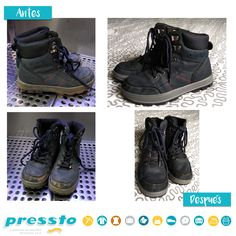 ¡No tires tus botas! En Pressto Bags & Shoes damos una segunda oportunidad a tu calzado. Mira lo que somos capaces de hacer.  #mejorconpressto Hiking Boots, Shoes, Fashion, Opportunity, Footwear, Boots, Moda, Zapatos, Shoes Outlet