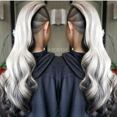 Platinum silver blonde hair color with deep smoky gray charcoal shading by Linh Phan. Clipper art design by @alex_qualitycuts. Styled by @maayanbescene hotonbeauty.com