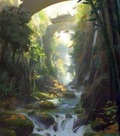 Stunning Concept Arts by Dawnpu art illustration scenery Stunning Concept Arts by Dawnpu Landscape Concept, Fantasy Landscape, Landscape Art, Landscape Paintings, House Landscape, Landscape Design, Landscapes, Asian Landscape, Environment Concept