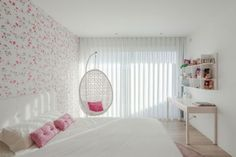 Bedroom:Modern Teenage Girl Bedroom Ideas Cool White Teenage Girl Bedroom With Modern Floral Wallpaper And White Desk Also Hanging Chair