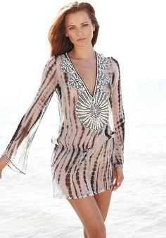 b0f070a819 Mana Kaftan Beaded Tunic Tie Dyed, Dyed Silk, Beach Cover Ups, Kaftan,
