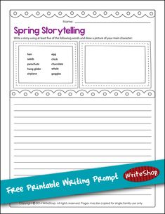 Kids can create a story about spring using this FREE printable writing prompt {via WriteShop}