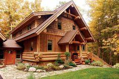 Log Homes Photo Galley - Log Cabin Bureau - Harbor Springs hybrid log home by Timber Wolf Handcrafted Log Homes of Cross Village MI. Log Home Plans, House Plans, Barn Plans, Garage Plans, Cabins In The Woods, House In The Woods, Plan Chalet, Log Home Interiors, Log Home Living