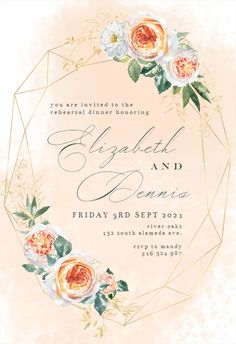 Watercolor Crystal Frame - Rehearsal Dinner Party Invitation #invitations #printable #diy #template #Rehearsaldinner #wedding Dinner Party Invitations, Free Birthday Invitations, Anniversary Invitations, Engagement Party Invitations, Wedding Invitation Templates, Bridal Shower Invitations, Invites, Wedding Frames, Save The Date Cards