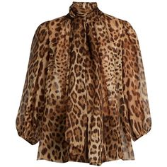 Leopard-print neck-tie silk blouse Dolce Gabbana MATCHESFASHION.COM ❤ liked on Polyvore featuring tops and blouses