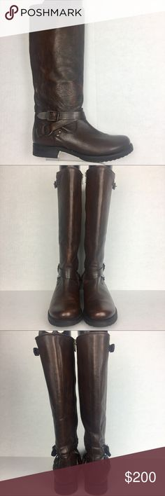 """Frye Veronica Criss Cross Maple Brown  Boots 8.5 Frye Veronica Criss Cross Maple Brown Tall Riding Boot. NWOT/ store display. With a minor visible scuff on the right front boot, please see pics Size Shoes: 8.5 - Leather lined - Rubber outsole - Antique brass/silver hardware - Goodyear welt construction - 14 1/4"""" Upper shaft circumference - 1 3/4"""" heel height  ATTENTION: Color might have slight variances between the real product and the image show in the listing If you have any questions…"""