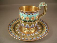 Russian Silver & Shaded Enamel Cup & Saucer: Khlebnikov