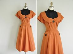 vintage 1940s pumpkin spice cotton dress / by simplicityisbliss, $150.00