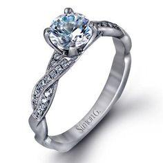 Simon G Twist 18k - White Gold Diamond Engagement Ring Unique Diamond  Engagement Rings 1a49d4cd6