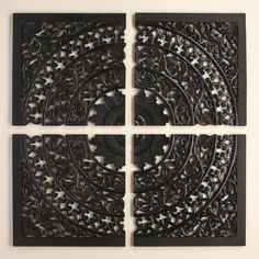 Hand carved in India, our black wall plaque makes a grand, globally inspired statement as a headboard alternative or a living room focal point. Display its four panels as one unified piece or leave spaces between them for rich visual interest.